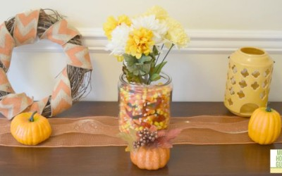 Console Table Decorated for Fall By Mom Home Guide